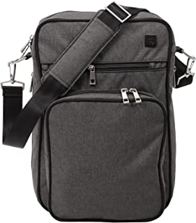 JuJuBe Helix Multi-Functional Crossbody Messenger/Diaper Dad Bag, Onyx Collection - Chrome