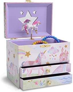 Jewelkeeper Musical Jewelry Box with 2 Pullout Drawers, Glitter Rainbow and Stars Unicorn Design, The Unicorn Tune