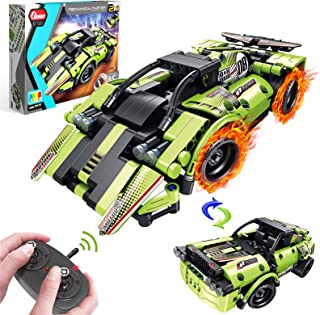 Holiky Building Toys for Kids, 2 in 1 Remote Control Race Car and Off-Road Car STEM Learning Toys Building Blocks for 6 7 ...