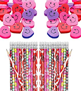 72 Pc Set Valentine's Day Party Favors - Pencils and Erasers, Bulk Pack Kids Class Gift Set for Valentine Classroom Exchan...