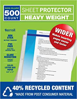 Samsill 500 Non-Glare Heavyweight Sheet Protectors, 3.3 Mil Thick, Top Loading / 3 Hole Design Page Protectors, Archival Safe for Photos or Printed Copy, Holds Multiple 8.5 x 11 Sheets, Bulk 500 Pack