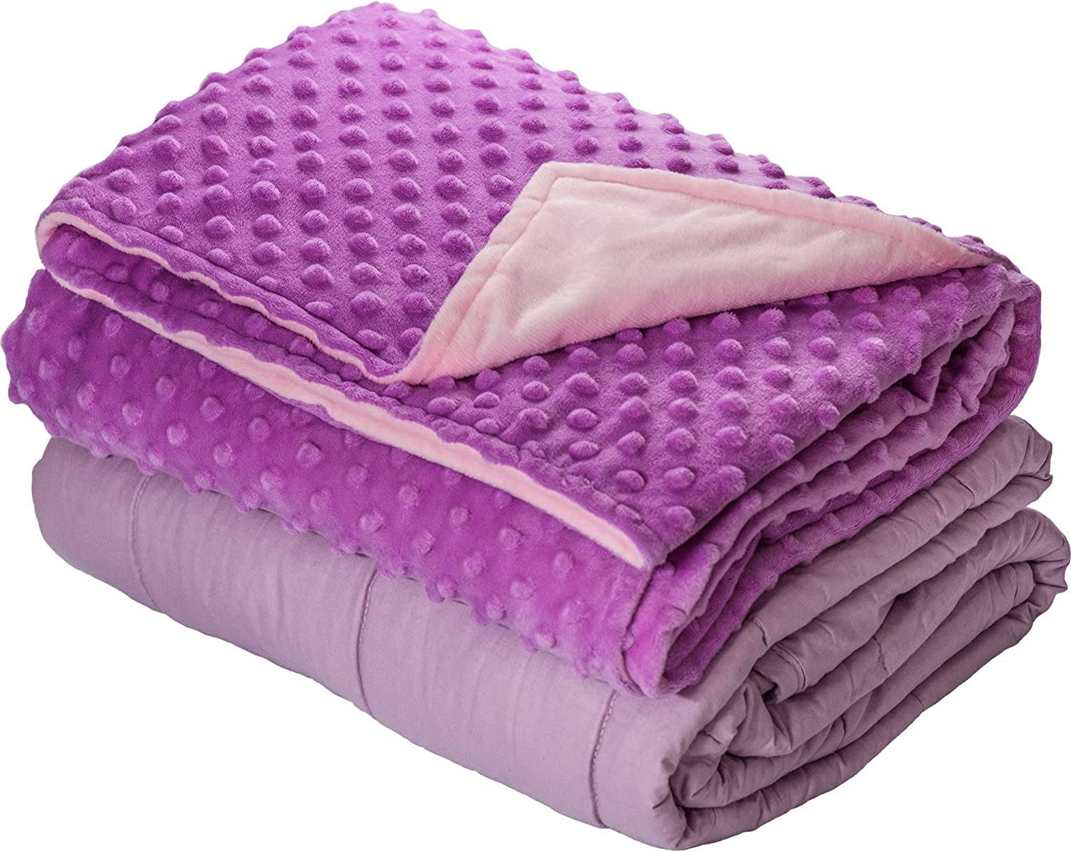 10lb Weighted Blanket with Dot Minky Cover for Kids Teens (Inner Light purple Cover purple & Pink, 48 x68  10lbs)