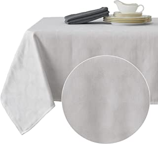 Deconovo Decorative Jacquard Tablecloth Wrinkle and Water Resistant Spill-Proof Rectangle Tablecloths with Round Patterns for Kitchen 54 x 72 inch White