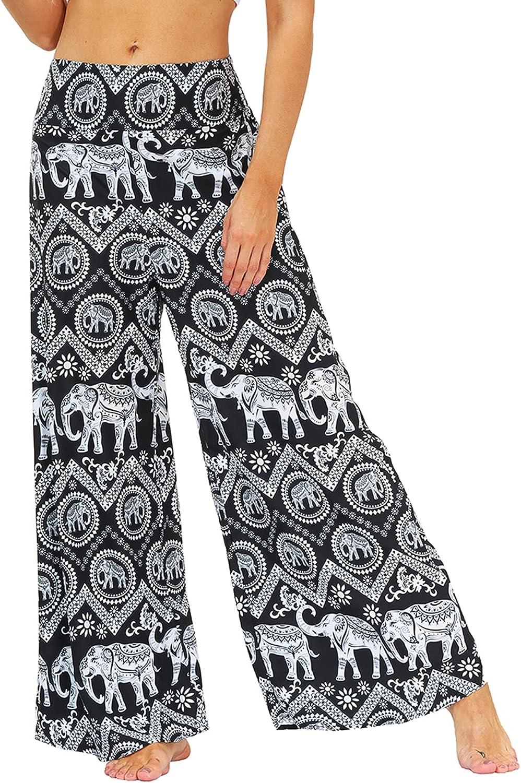 Lu's Chic Women's High Waist Pants Palazzo Pants Boho Bohemian Long Ankle Casual Patterned