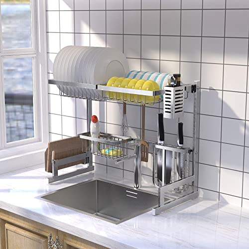 high quality labworkauto Over Sink Dish outlet sale Drying Rack Stainless Steel Kitchen Shelf Cutlery Holders Drainer for Kitchen Organizer Storage wholesale Space Saver outlet sale