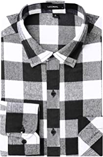 Leonal Men's Dress Long Sleeve Buffalo Plaid Checked Flannel Shirt