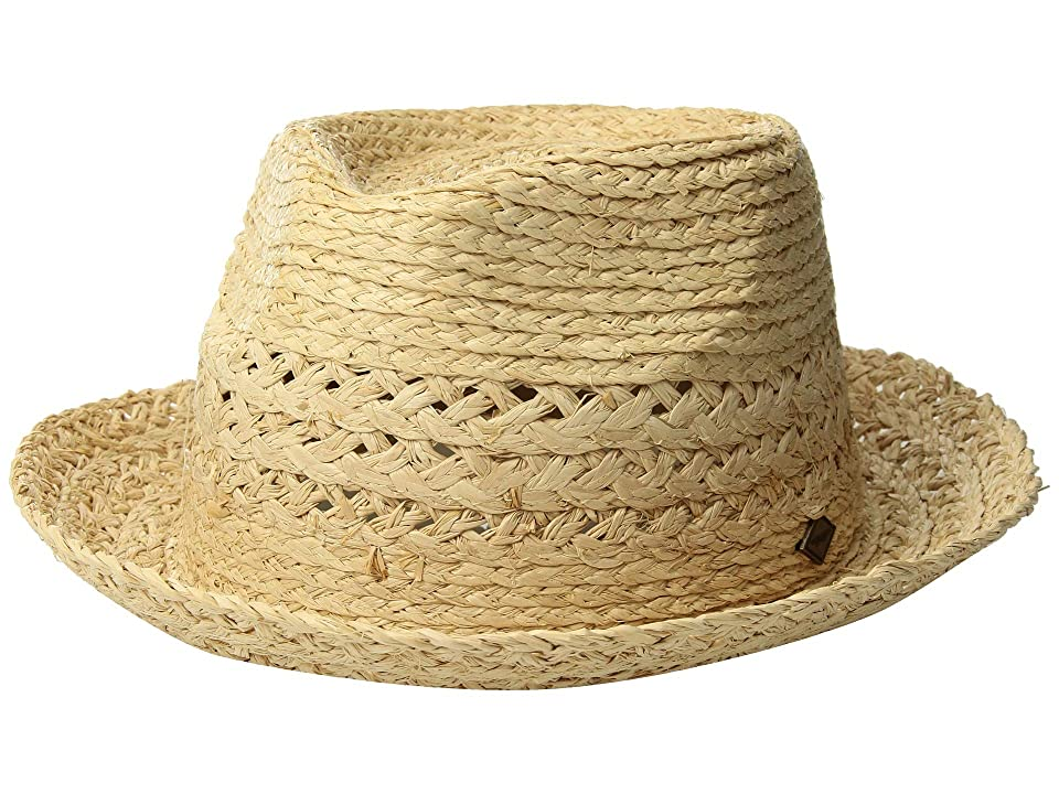 San Diego Hat Company SDH3320 Detailed Inset Paper Fedora (Natural) Caps