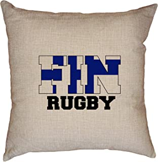 Hollywood Thread Finland Rugby - Olympic Games - Rio - Flag Decorative Linen Throw Cushion Pillow Case with Insert