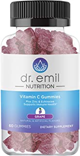 Dr. Emil Nutrition Vitamin C Gummy Vitamin Immune Support Supplement with Zinc and Echinacea - 60 Count Bottle