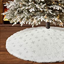 """yuboo Silver Christmas Tree Skirt,48\"""" White Fur with Sliver Sequins for Xmas Tree Skirt Decorations"""