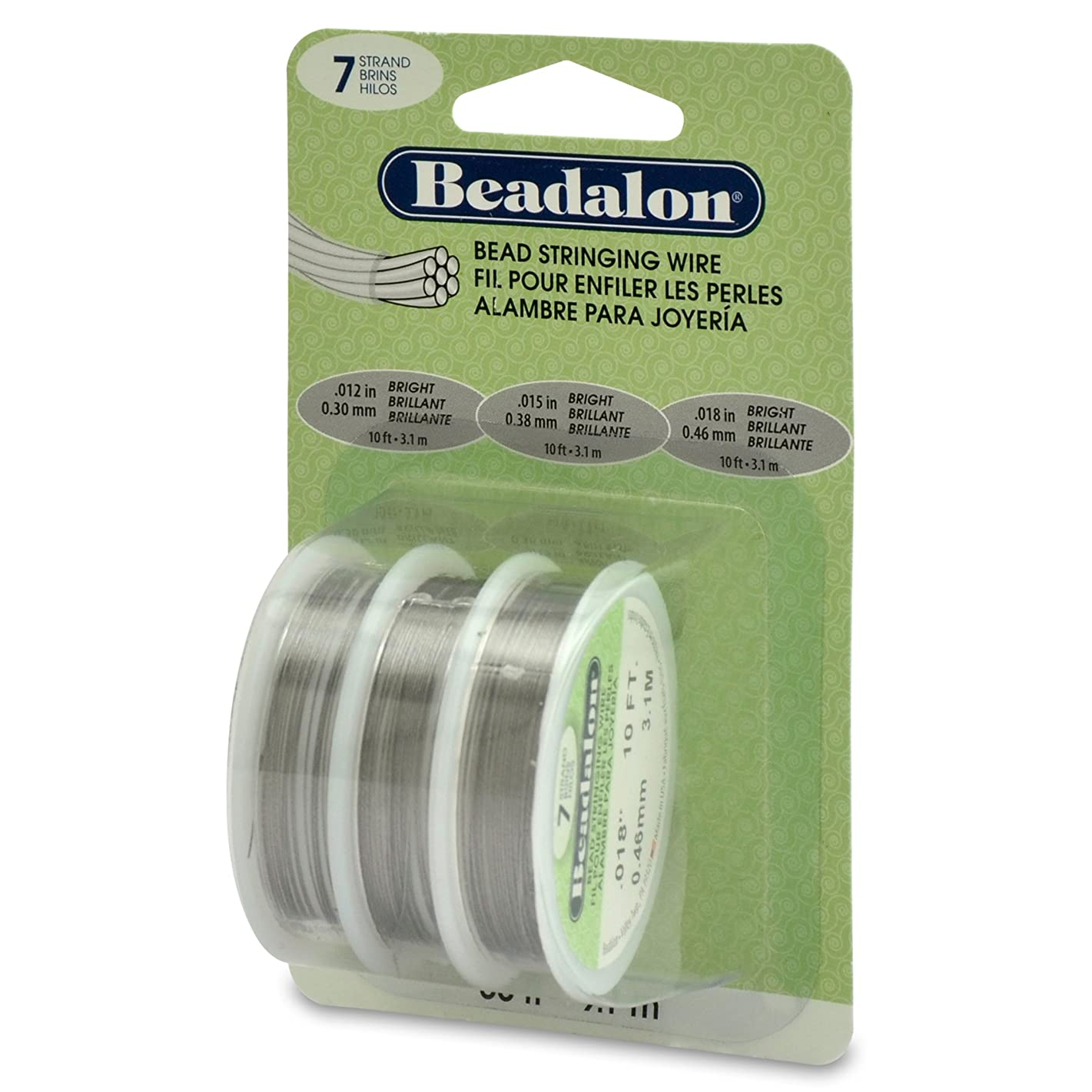 Beadalon 0.012-Inch, 0.015-Inch and 0.018-Inch 7-Strand, Bright, 3-Pack
