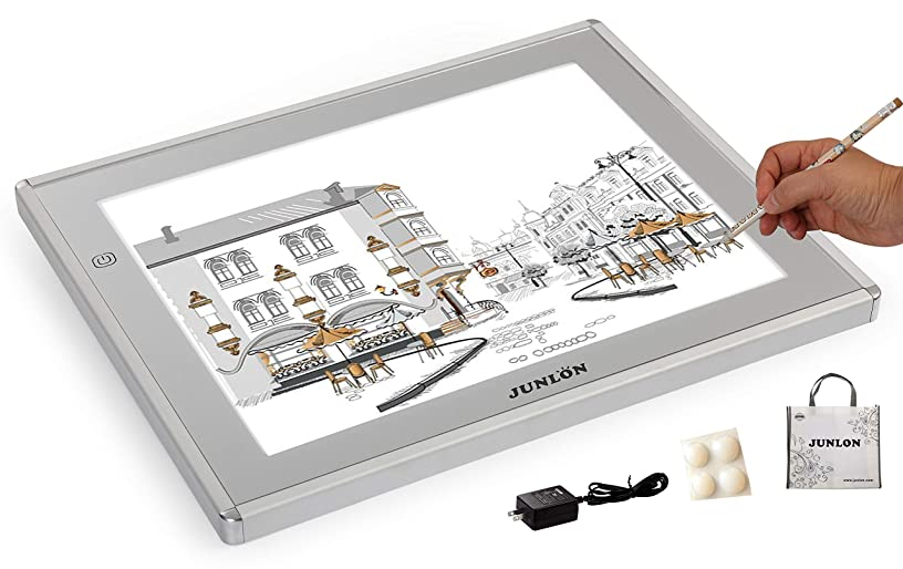 JUNLON A3 Aluminum LED Light Table Box Tracing Pad Drawing Board for Artists Bright Pad Tattoo Stencil Artcraft Tracing Animation Extremely Bright Adjustable Brightness Tracing Box
