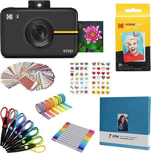 Kodak Step Instant Camera with 10MP Image Sensor (Black) Scrapbook Bundle