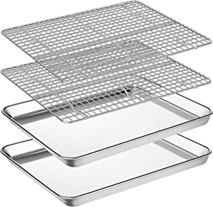 Baking Sheet with Cooling Rack Set, Footek Stainless Steel Cookie Sheet Baking Pan Tray with Wire Rack for Oven, Dishwasher Safe, Non Toxic, Heavy Duty & Easy Clean (4, 16inch)
