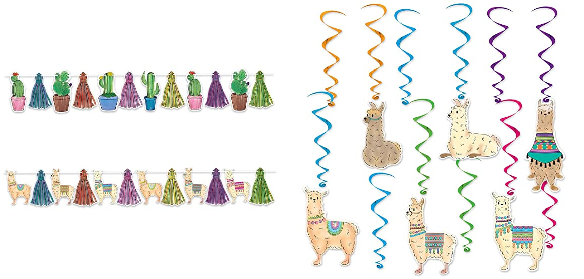 J&J's ToyScape Llama and Cactus Streamer & 12Ct Llama Whirls | Hanging Swirl Decorations Home Ceiling Wall Decor for Woodland Farm Baby Shower, Birthday, Mexican Party Supplies