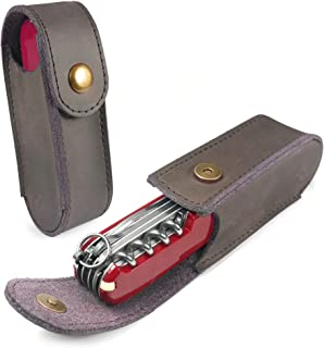 TUFF LUV Genuine Western Leather Case Pouch Compatible with Victorinox Swiss Army Knife (2-4 Layer) - Brown