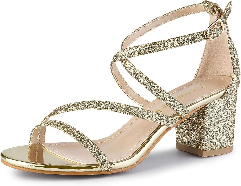 Allegra K Women's Glitter Crisscross Strap Chunky Heels Sandals