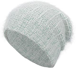 EASTER BARTHE Women Angora Rabbit Fur Cuffed Beanie Thick Warm Winter Slouchy Skull Knit Beanie Stocking Hat Cap