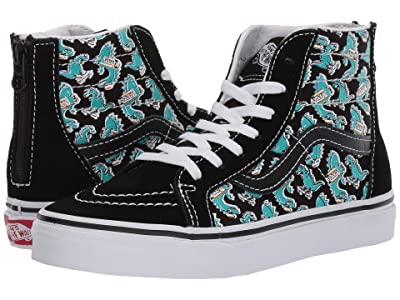 Vans Kids Sk8-Hi Zip (Little Kid/Big Kid) ((Vanosaur) Black/True White) Boys Shoes