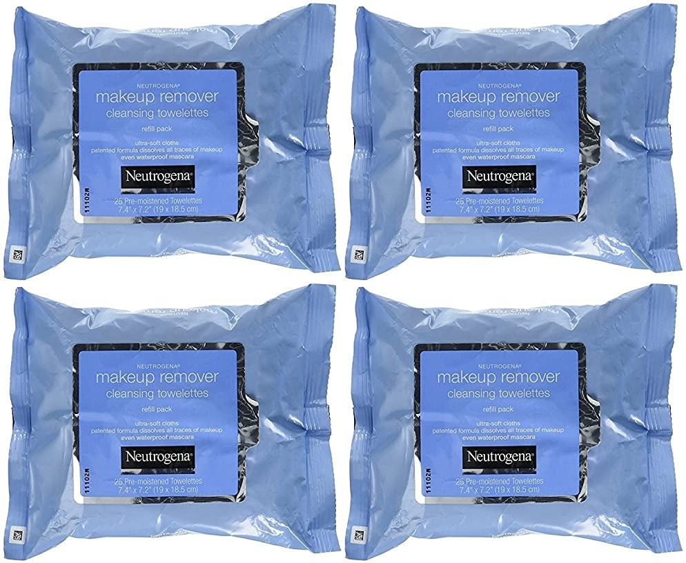 Neutrogena Makeup Remover Cleansing Towelettes 25 ct (Pack of 4)