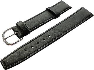 16mm Cuero de Becerro Pulsera de Reloj en Negro con Hebilla en Plata