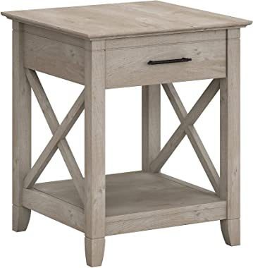 Bush Furniture Key West End Table with Storage, Washed Gray