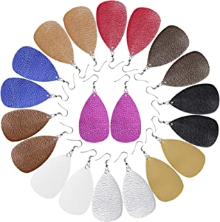 Cridoz Leather Earrings for Women, 10 Pairs Leather Earrings Teardrop Faux Leather Earrings for Women Girls