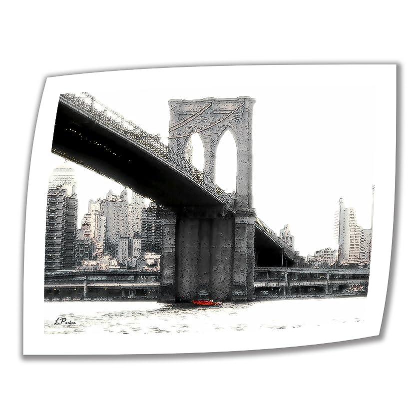 シュートグリース忌まわしいアートウォール ニューヨークのブルックリン橋 24 x 32インチ 未ラップキャンバスアート リンダ?パーカー作 2インチアクセントボーダー付き
