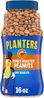 PLANTERS Honey Roasted Peanuts, 16 oz. Resealable Jar | Flavored Peanuts with a Sweet Honey Coating & Sea Salt | Wholesome...