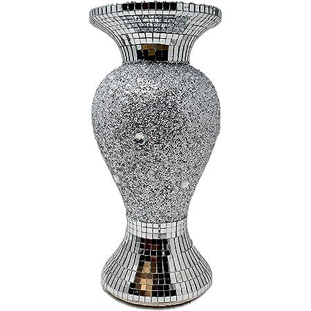 Nouveau Argent Crushed Crystal remplie en céramique vase pot Sparkle Bling UK
