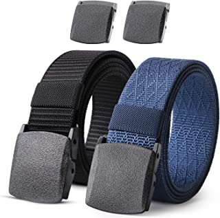 Nylon Military Tactical Men Belt 2 Pack Webbing Canvas Outdoor Web Belt with Plastic Buckle gift for Men