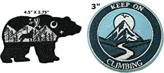 Bear and Keep on Climbing National Park Series 2-Pack Embroidered Patch Iron-on Sew-on Explore Nature Outdoor Adventure Explorer Souvenir Travel Vacation Emblem Badge
