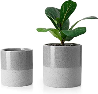 Greenaholics Plant Pots - 5.9 + 4.7 Inch Ceramic Planters for Snake Plant, Medium Indoor Plant, Vintage Style, with No Saucers, Grey