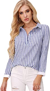 Women's Casual Striped Button Up Self Tie Front Long Sleeve Blouse