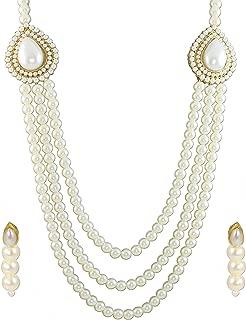 Zaveri Pearls Grand Moti Rani haar Necklace Set for Women (White) (ZPFK4137)