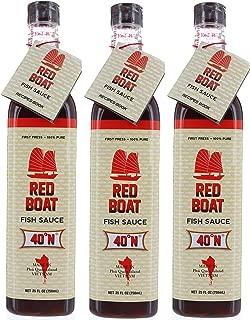 3 Bottles, Red Boat 40°N Vietnamese Fish Sauce 25 FL OZ, First Press & 100% Pure, Gluten Free, No Shellfish