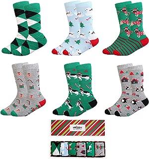 Crew Socks for Boys- Stripe Days of the Week Christmas Socks- Dress & Trouser Socks- 6 Pack Boys' Novelty Cotton Socks