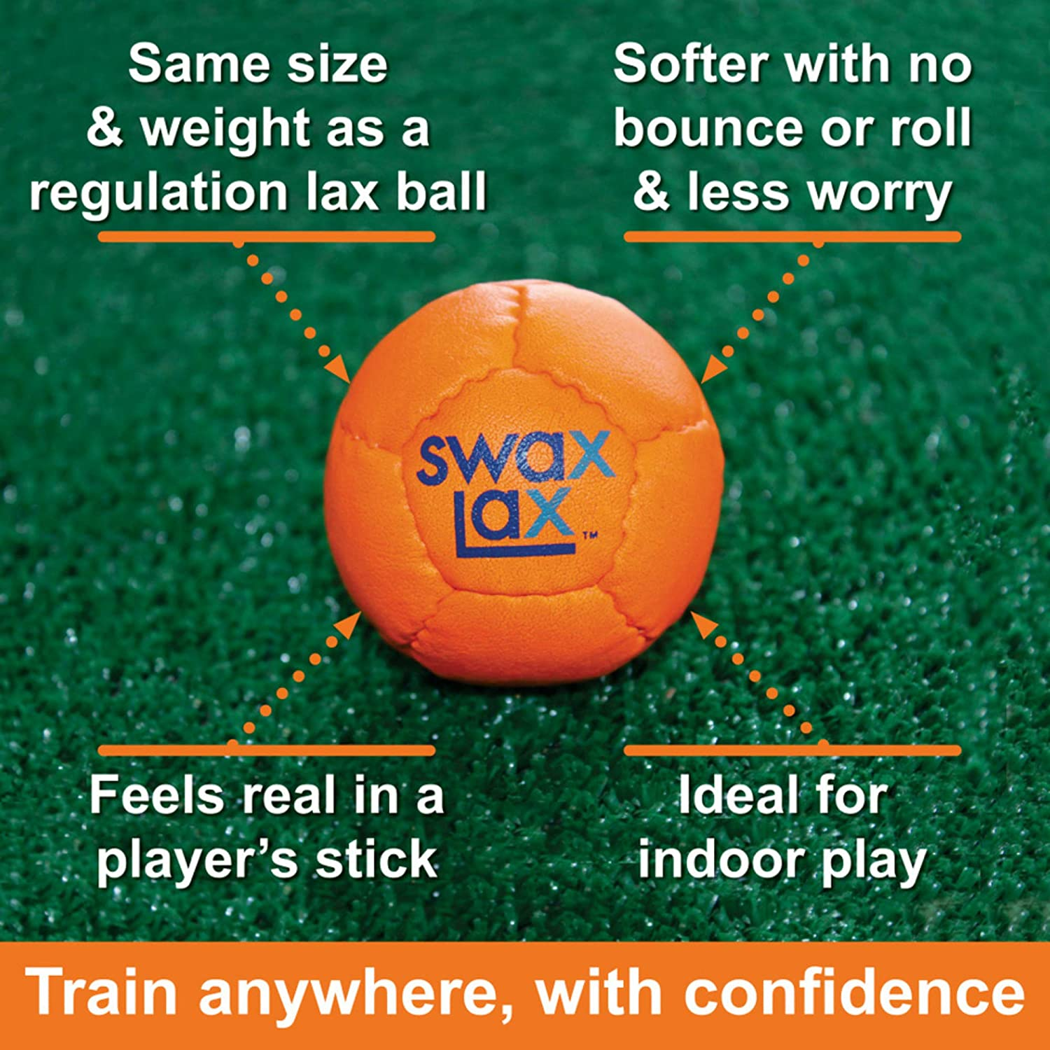 Indoor Outdoor Practice Ball with Less Bounce /& Reduced Rebounds Same Size /& Weight as Regulation Lacrosse Ball but Soft SWAX LAX Lacrosse Training Ball
