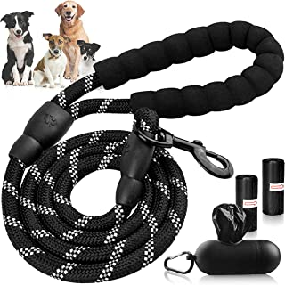 FHAAS Strong Dog Leash Rope 5ft with Comfort Padded Handle Reflective Threads Heavy Duty Clasp–Pet Accessories Dispenser H...