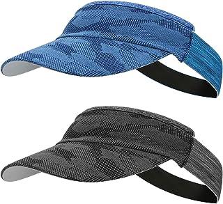 Ideashop Sport Sun Visor Hat for Women and Men, 2 Pack Lightweight Quick Dry Sun Visor Cap with Sweatband Sports Hats for ...