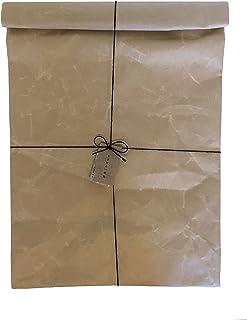 大直「SIWA・紙和」和紙のクラッチバッグ・L ブラウン