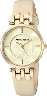 Anne Klein Women's  Gold-Tone and Ivory Leather Strap Watch