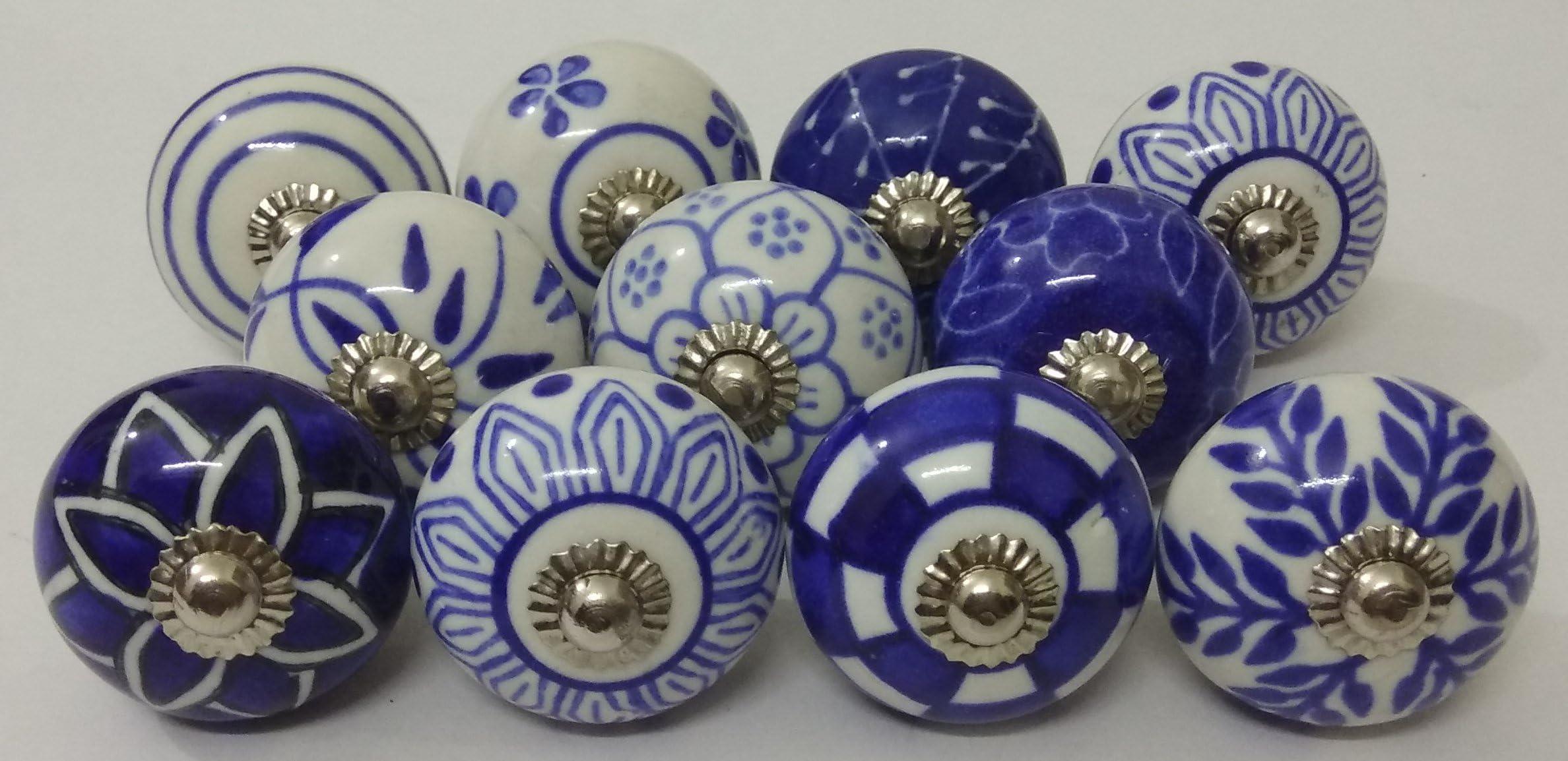Blue and White Mixed Design Ceramic Knobs Kitchen Cabinet Drawer Knobs Hardware Knobs Drawer Knobs Cabinet Knobs Ceramic Door Knobs 8007