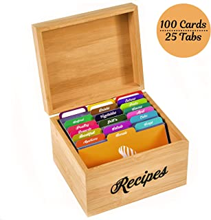 Akshaya Bamboo Wood Recipe Box with 100 recipe cards 4x6 and 25 dividers | Perfect Kitchen Cooking gift set idea for Mom Women Grandma Bridal Shower and Weddings