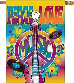 ShineSnow Peace Love Symbol Guitar Dove Woodstock Music and Art Fair House Flag 28