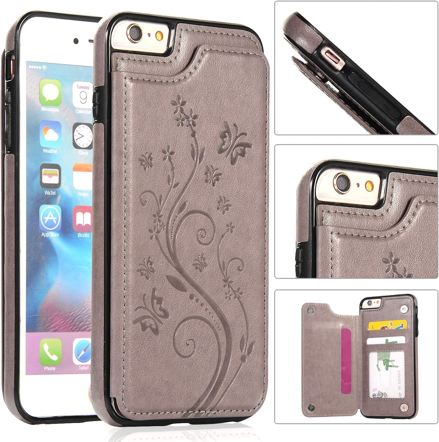 Back Wallet Case lowest price for San Francisco Mall iPhone 6 6S Emboss Stand Elegant QFFUN with