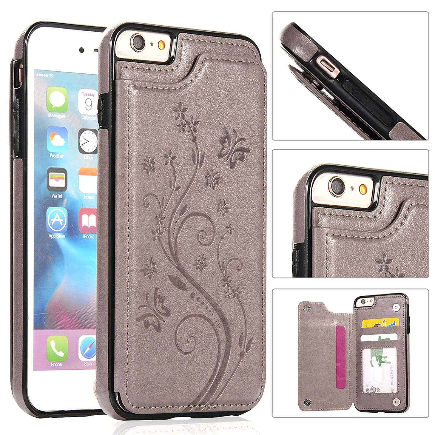 iPhone 6s Wallet Case with Card Holder,iPhone 6 Case [Butterfly Series] Wallet for Women Girls Men,i-Dawn Compatible with iPhone 6S Cute Case Slim Fit Premium Leather Cover with Stand,Durable -Grey