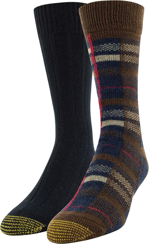Gold Toe mens Recycled Plaid Crew Socks, 2 Pairs