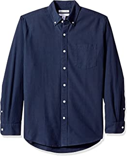 Amazon Essentials Camisa Oxford de Manga Larga con Bolsillo sólido de Ajuste Regular. Hombre
