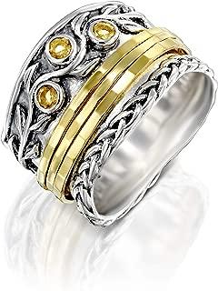 Paz Creations 925 Sterling Silver Gemstone Spinner Ring